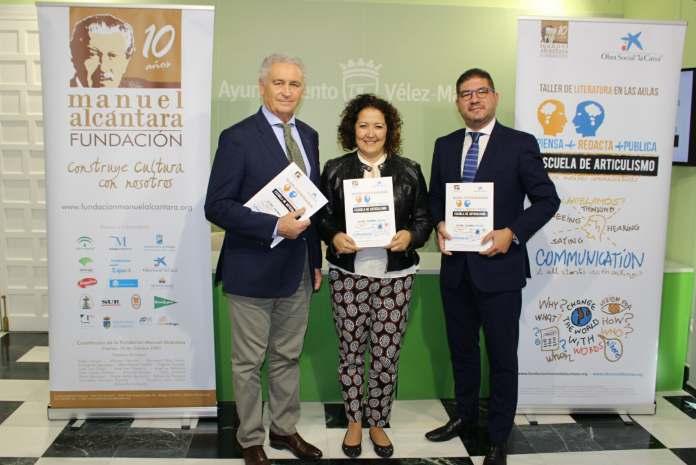 La concejala de Educación y Cultura, Cynthia García, el presidente de la Fundación Manuel Alcántara, y un representante de Caixabank, José Diego Gil, han presentado esta iniciativa.