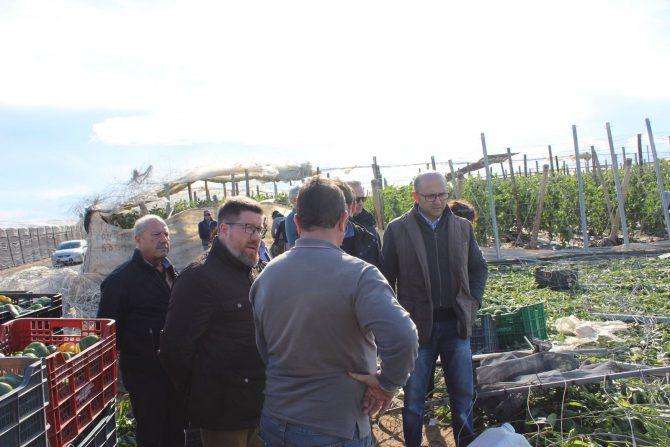 Rodrigo Sánchez Haro, ha visitado hoy en El Ejido y La Mojonera (Almería) las zonas dañadas por el tornado.