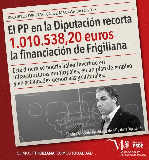 Los diputados provinciales del PSOE Antonio Yuste y Miguel Espinosa han denunciado que el equipo de gobierno del PP en la Diputación ha recortado más de 1 millón de euros la financiación de Frigiliana.