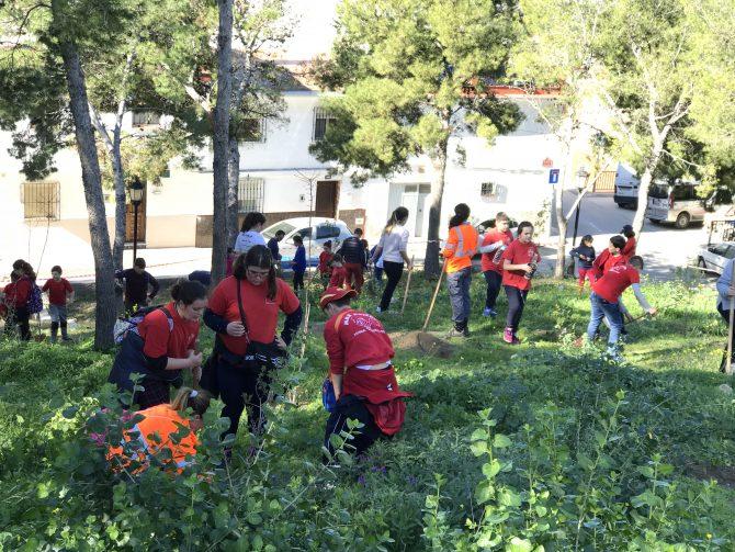 Medio centenar de escolares plantan 200 árboles en el pinar de La Fortaleza de Vélez-Málaga