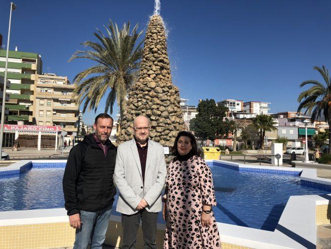 Finalizan los trabajos de remodelación en la fuente de la Solidaridad de Torre del Mar