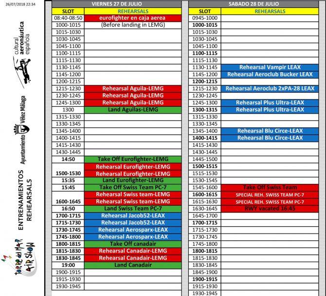 Este es el cronograma de entrenamientos para viernes y sábado.
