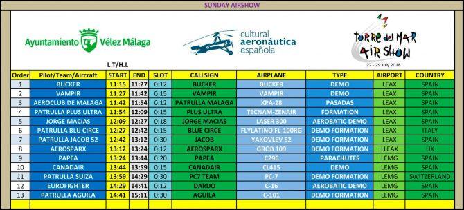 Horarios del Festival Aéreo Internacional de Torre del Mar