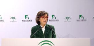 La consejera de Justicia e Interior, Rosa Aguilar, ha comparecido en rueda de prensa a las 18.30 horas para ofrecer el segundo avance de la participación en estos comicios,