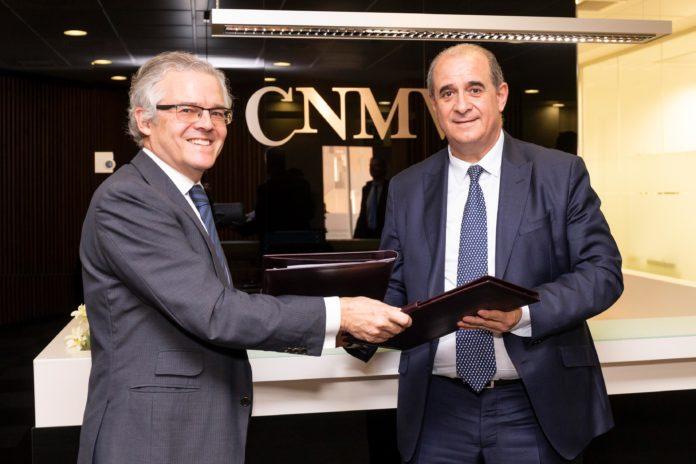 El director general de la Policía Nacional, Francisco Pardo, y el presidente de la Comisión Nacional del Mercado de Valores (CNMV), Sebastián Albella.