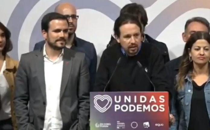 El candidato de Unidas Podemos ha comparecido esta noche electoral junto a su número dos, Irene Montero, y el coordinador federal de IU, Alberto Garzón.