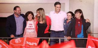 Pedro Sánchez celebra los resultados de las elecciones generales en la sede del PSOE.