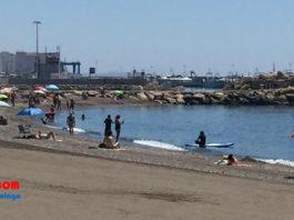 Imagen de la playa de Caleta de Vélez hoy sábado.