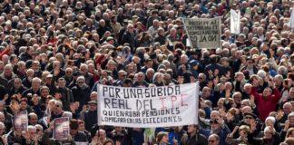 Imagen de una protesta de jubilados por las calles de Bilbao.