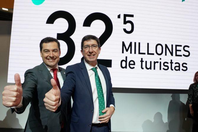 Moreno celebra el dato histórico del turismo andaluz: 32,5 millones de visitantes en 2019