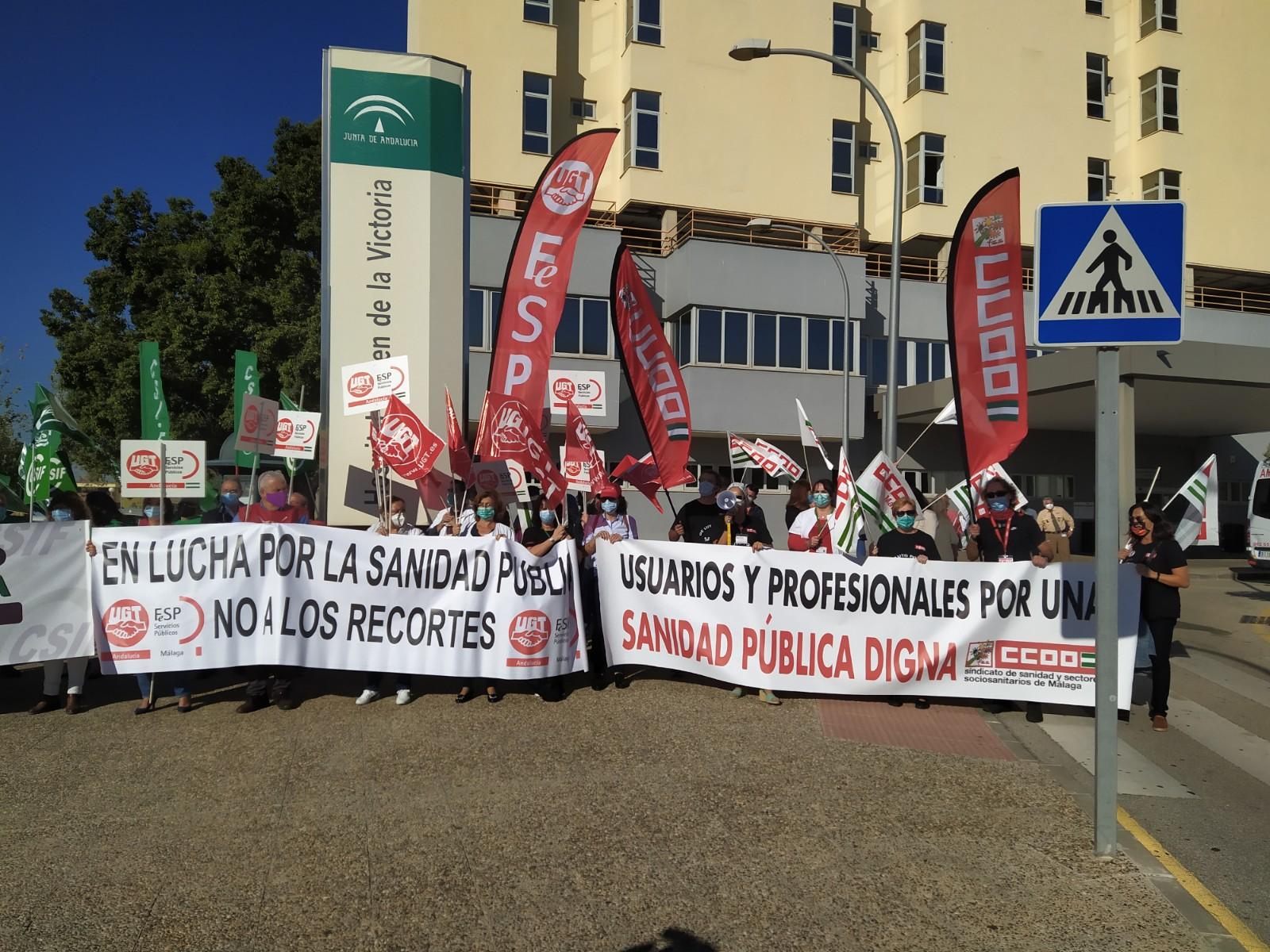 Concentración sindical en el Hospital Clínico.