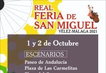 Cartel anunciador de la Feria de San Miguel 2021 de Vélez-Málaga con la actuación de Hombres G y Niña Pastori